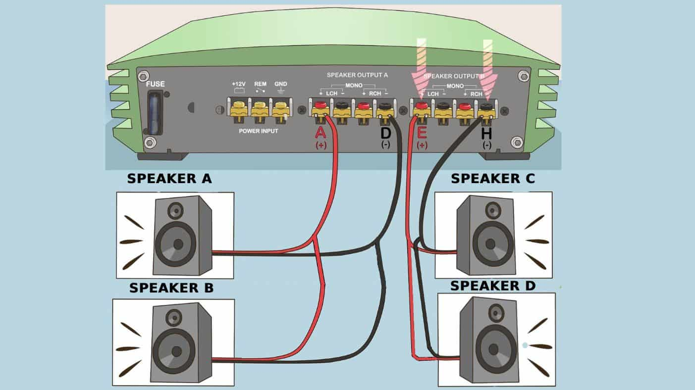 how to wire a 4 channel amp to 4 speakers and a sub